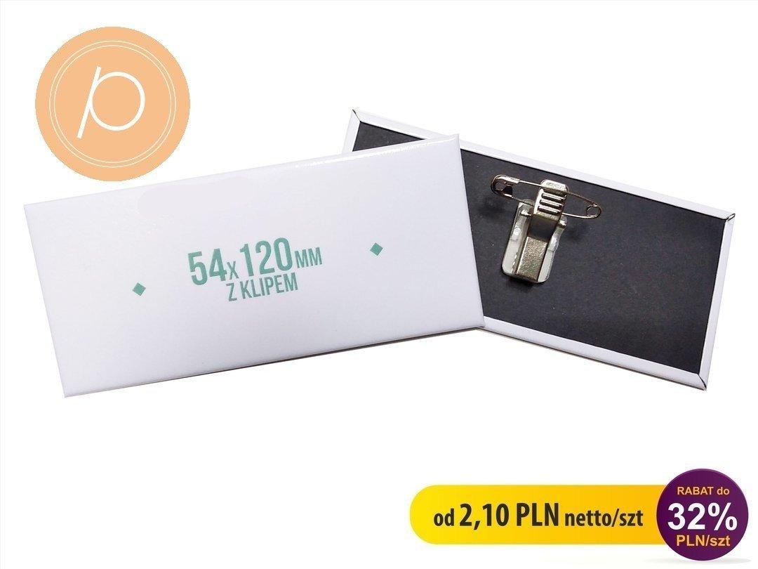 Przypinka prostokątna 54x120mm - zapięcie na clip z agrafką