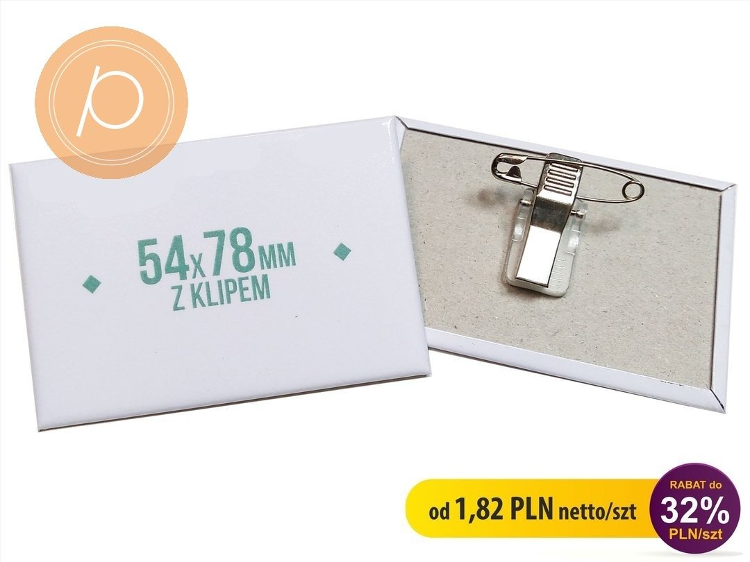 Przypinka prostokątna 54x78mm - zapięcie na clip z agrafką