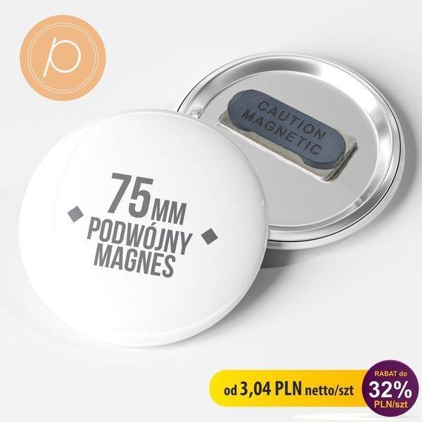 Przypinka okrągła 75mm - zapięcie magnetyczne