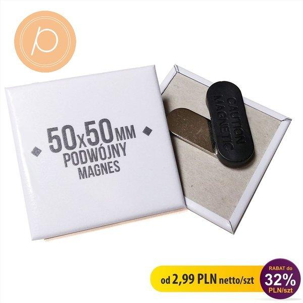 Przypinka prostokątna 50x50mm - zapięcie magnetyczne